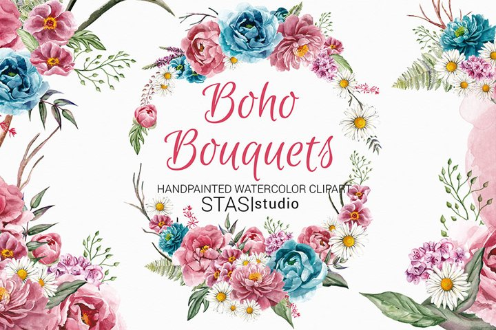 Boho Bouquets Clipart, Watercolor Boho Peony, Hand Painted