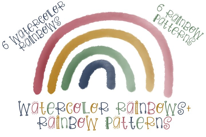 Watercolor Rainbows and Patterns