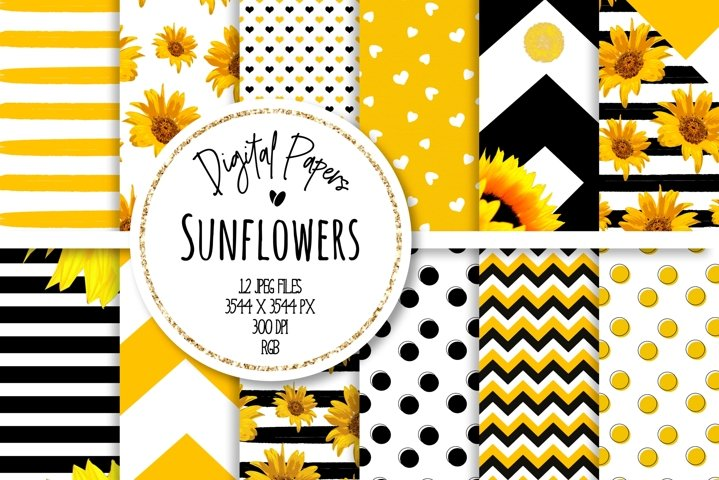 Sunflower Digital Paper Set