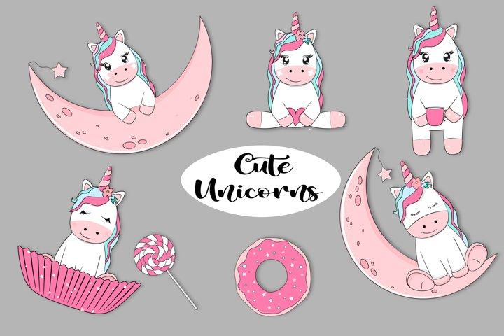 Cute unicorns collection. Fairy characters, adorable horses.