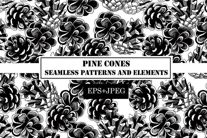 Pine cone seamless pattern