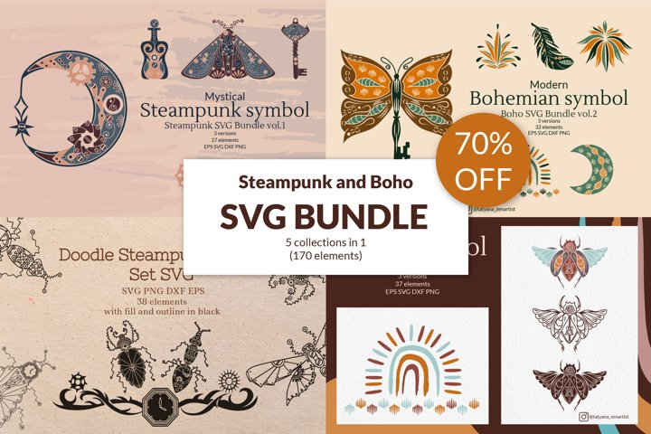 SVG Bundle 5 in 1. Boho SVG, Steampunk SVG 70 OFF