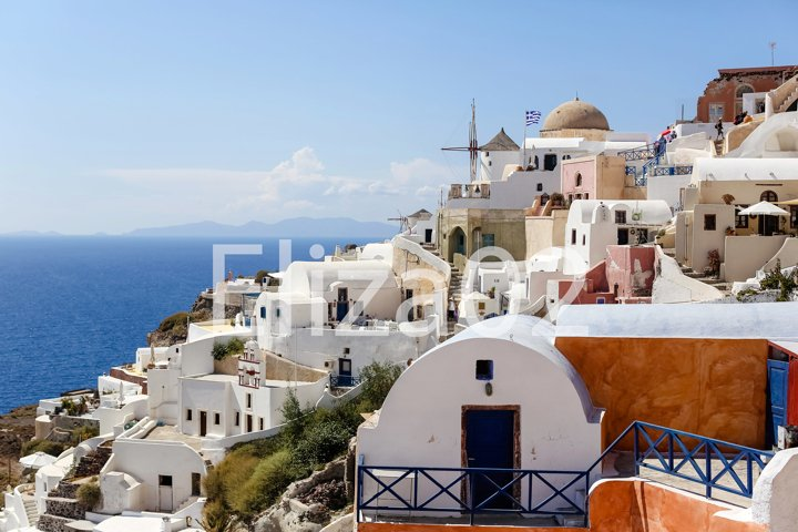 view of Oia on the island of Santorini in Greece