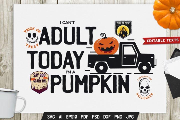 Halloween SVG Cut File Holiday Sign. I Am A Pumpkin DXF Logo