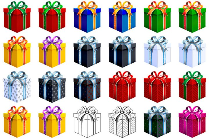 Set of 24 digital gift boxes. With Hearts. With stars