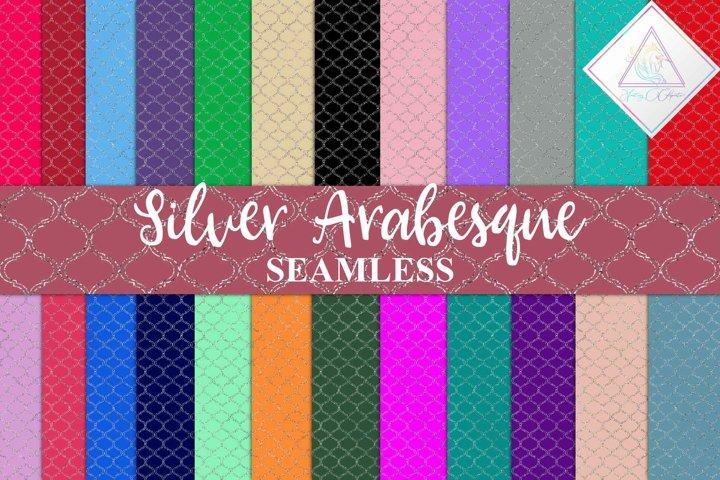 Seamless Silver Arabesque Digital Paper