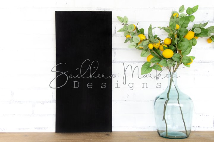 12x24 Black Wood Sign Mock Up Summer Farmhouse Styled Photo