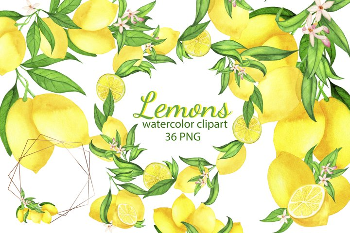 Watercolor Lemon Clipart, Lemon Frame, Lemon Wreath, Summer