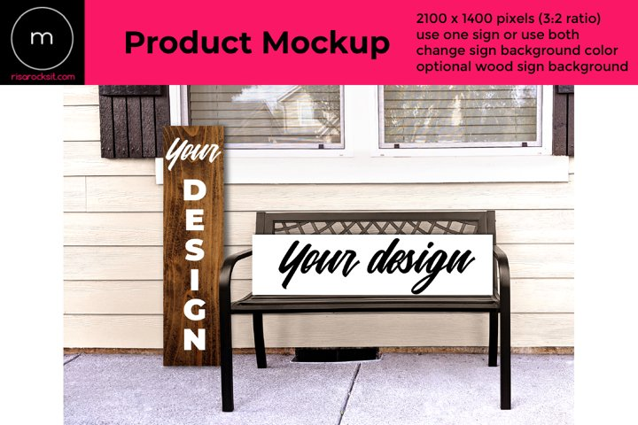 Vertical and Horizontal Porch Sign PSD Mockup with Bench
