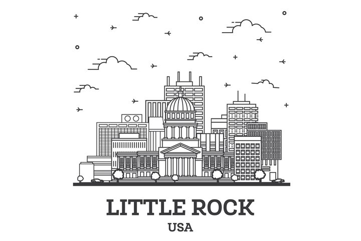 Outline Little Rock Arkansas USA City Skyline