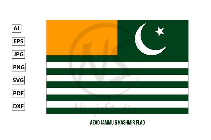 Azad Jammu and Kashmir Flag. Territory of Pakistan