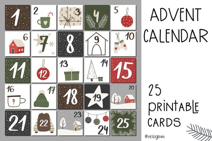 Christmas advent calendar - 25 hand drawn cards