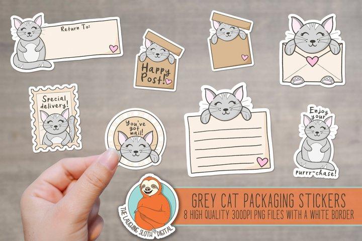 Cute Grey Cat Packaging Stickers