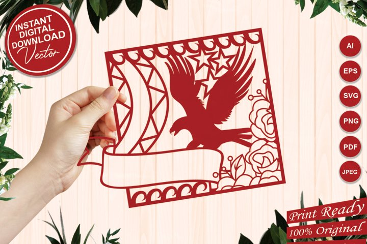 Paper Cut Eagle Frame with Tag Ribbon and Floral Design