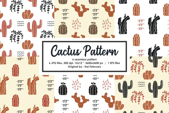 Brown Cactus Seamless Pattern, Scrapbook, Fabric