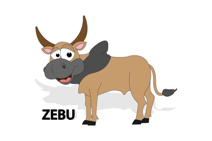 cute zebu animal cartoon