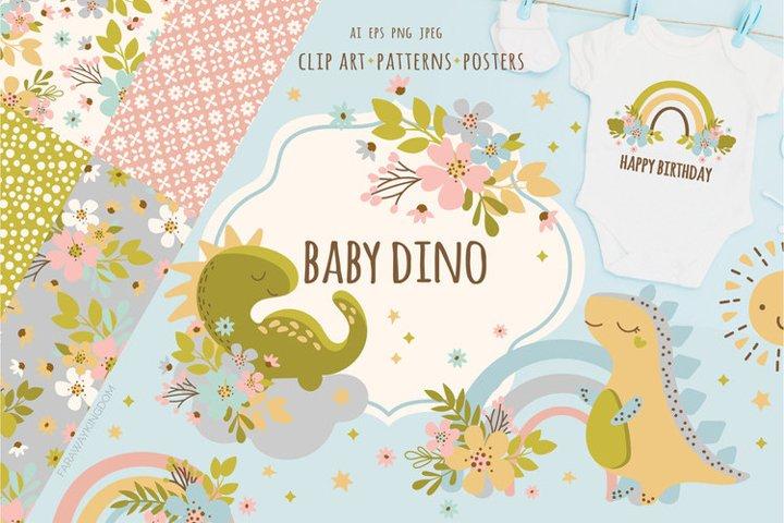 BABY DINO Kid Hand Drawn Flat Design Vector Illustration Set