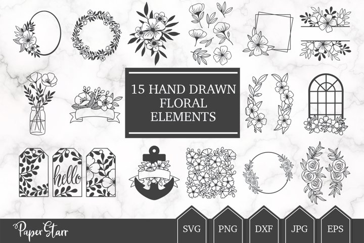 Hand Drawn Floral SVG BUNDLE