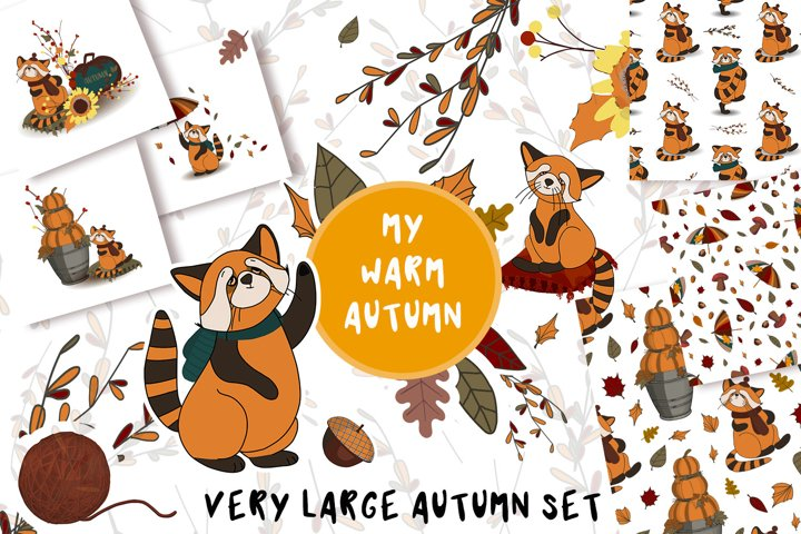 Autumn mood. clipart and patterns.