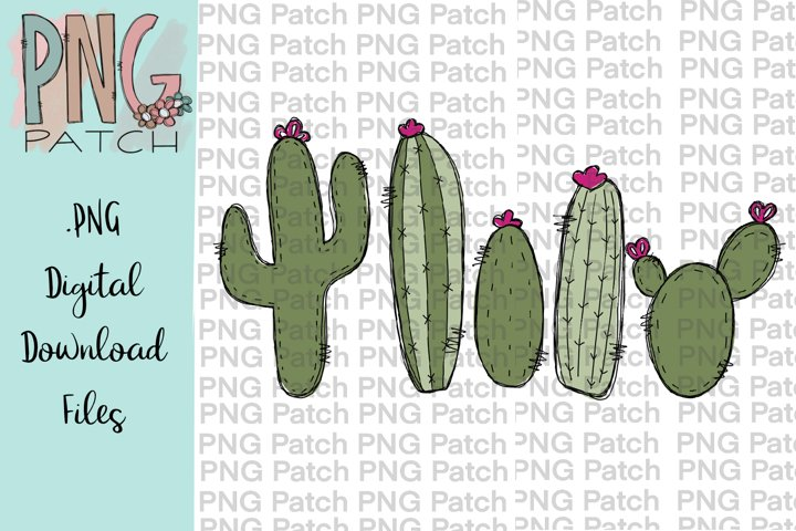 Cute Cactuses, Outdoor PNG File, Plants Sublimation
