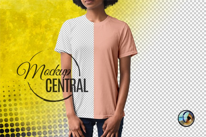 Urban Womans African American Model T-Shirt Mockup, PSD