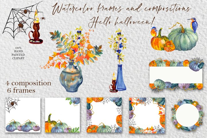 Autumn clipart. Yellow and gree pumpkin and autumn leaves