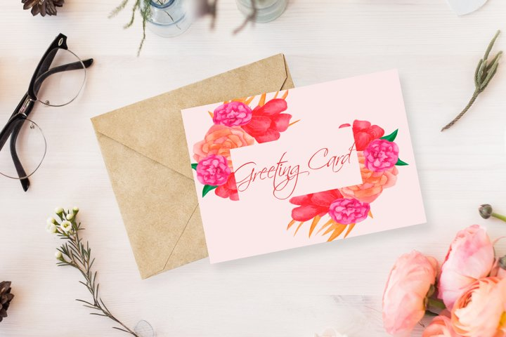 Colorful flowers frame. Watercolor wedding invitation. example 1
