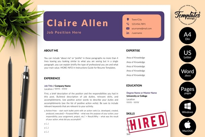 Creative Resume CV Template for Word & Pages Claire Allen