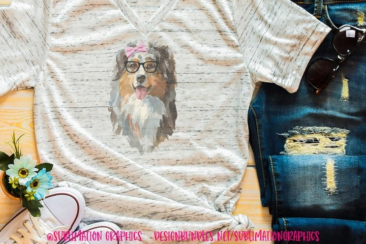 Aussie With Bow & Glasses Sublimation Digital Download