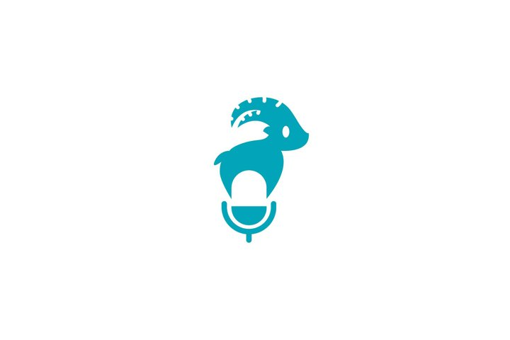 goat logo design with podcast and broadcast