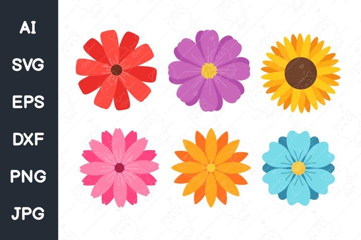 Colorful flower set for women. svg file.
