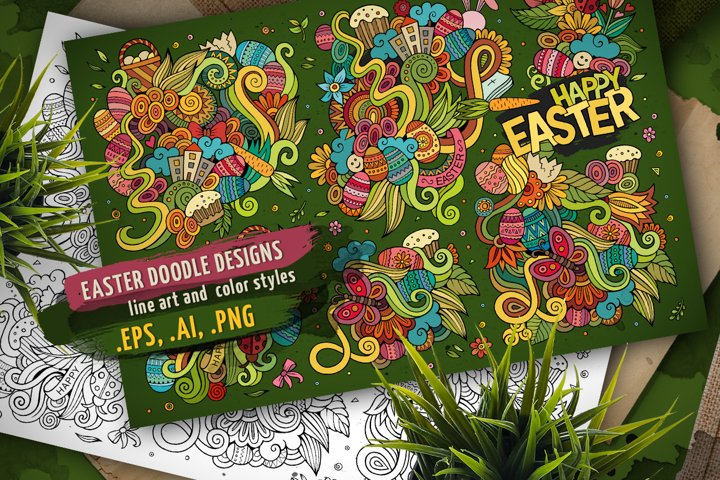 Happy Easter Doodle Designs Set
