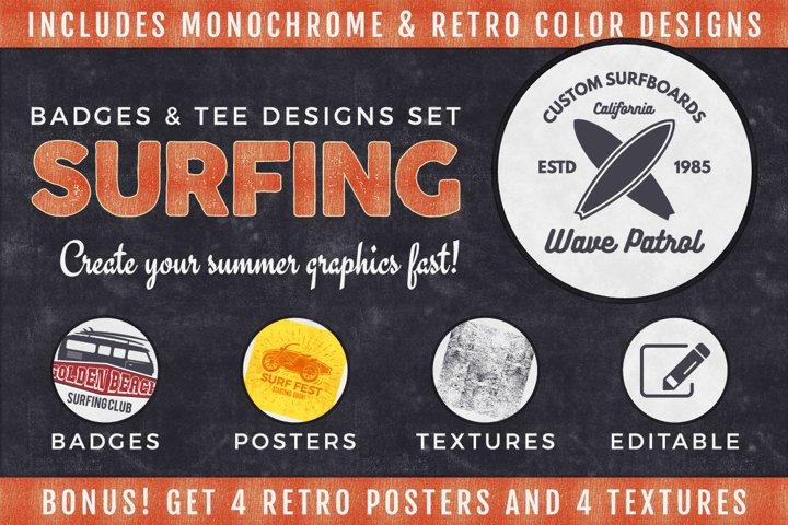 Vintage Surfing SVG Graphics Bundle. Logo Vector, Poster png