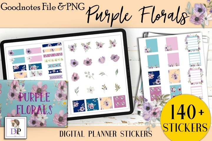 Purple Florals Set Digital Printable Stickers Goodnotes PNG