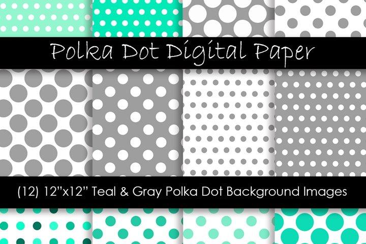 Teal & Gray Polka Dot Patterns