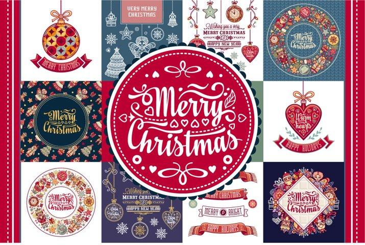 Christmas template. Big bundle. 30 greeting card.
