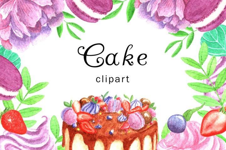 Watercolor Cake Clipart, Digital Clipart, Watercolor cake