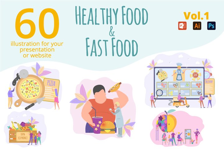 60 illustrations with Healthy Food & Fast Food
