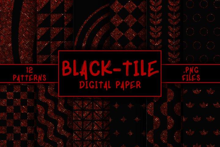 Black-Tile Pattern Digital Paper