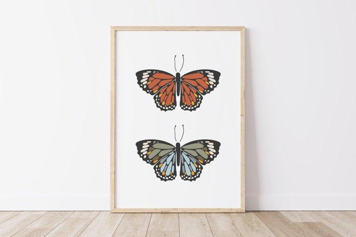 Boho butterfly print, Digital butterfly print, Birthday gift