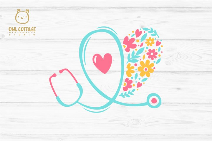 Floral Stethoscope SVG, Nurse Floral SVG, Nurse Tattoo - Free Design of The Week Design3