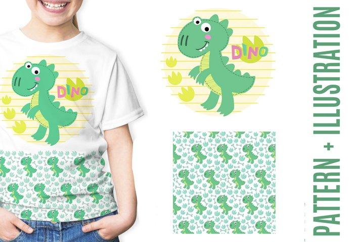 Baby dinosaur digital set. T-Rex illustration and pattern