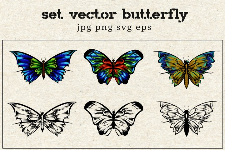 BUNDLES vector butterfly line art and full colour