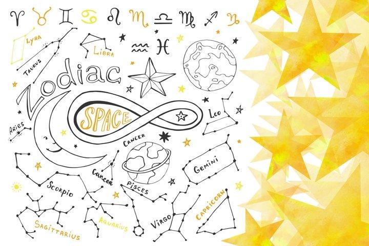 Zodiac signs. Hand drawn horoscope
