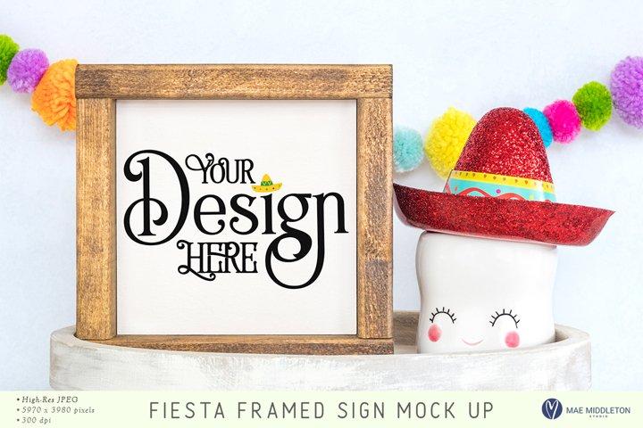 Framed Sign Mock up, styled photo - Fiesta, Cinco de Mayo