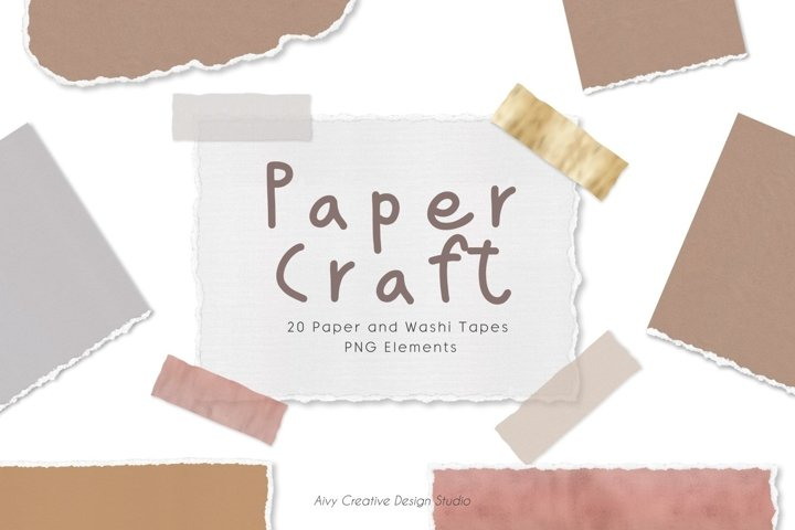 20 Paper Craft and Washi Tape Abstract Clipart Set