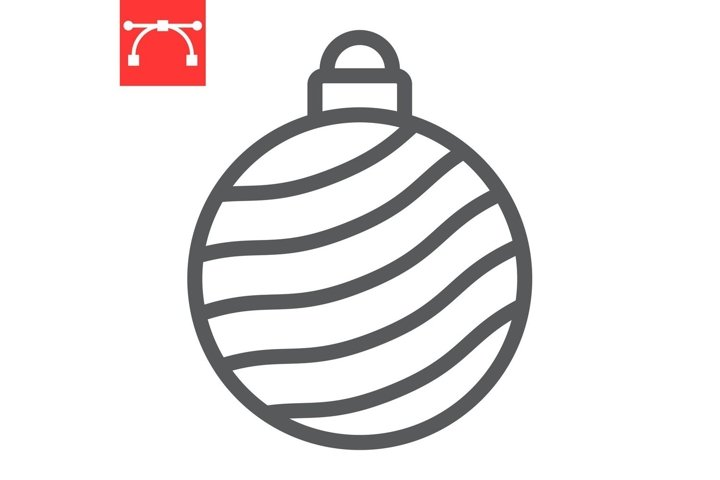 Christmas tree ball line icon