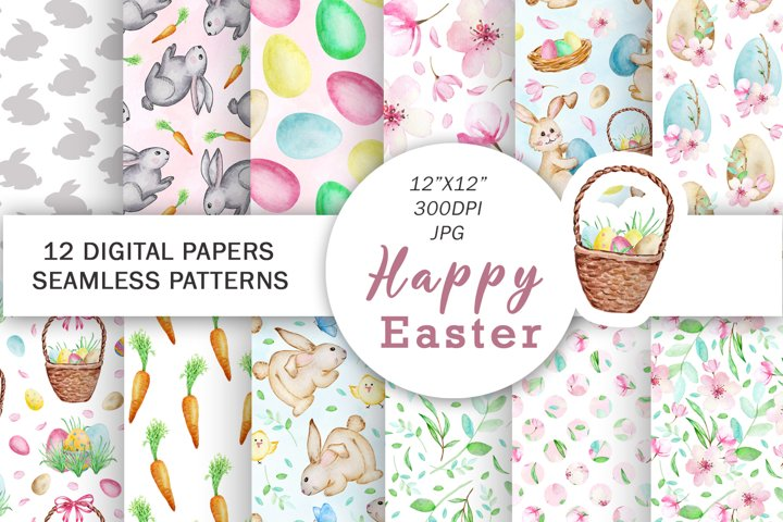 Watercolor Easter Digital Paper, Seamless Pattern