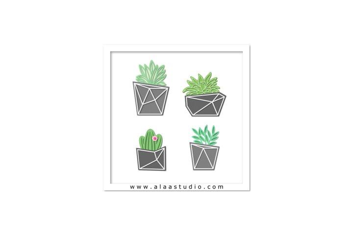 Modern geometric succulent cactus plants pots SVG PDF STUDIO