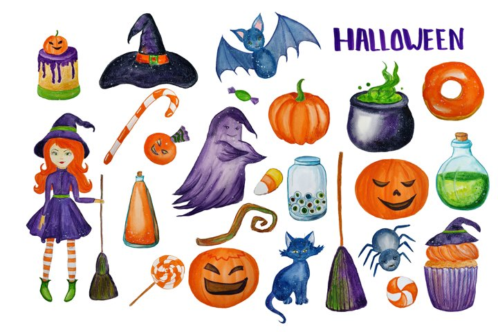 Watercolor Cute Halloween Clipart. Witch clip art example 2